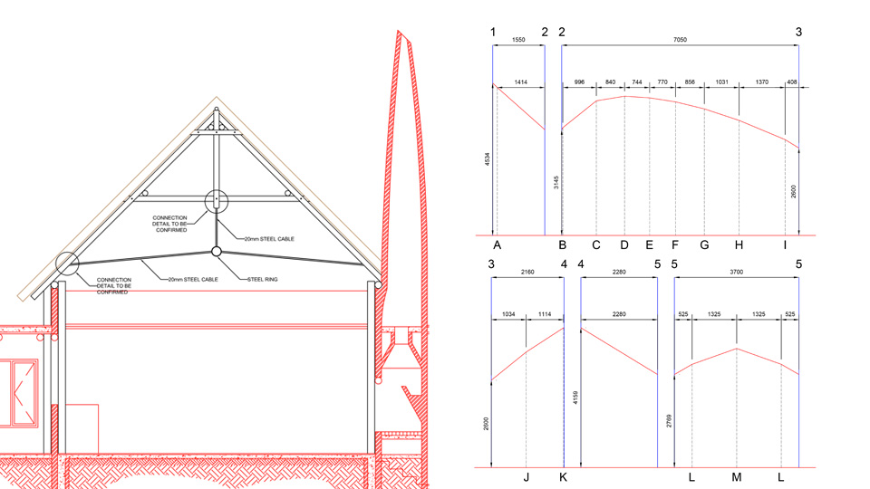 Technical Drawings of a Thatched Roof Construction Project